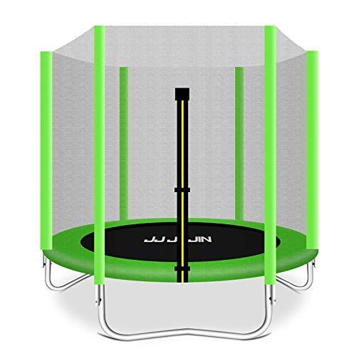 JUJIN - Cama elástica con red de seguridad, esterilla de saltar, almohadilla de seguridad, minitrampolines para niños en interiores o exteriores (verde)
