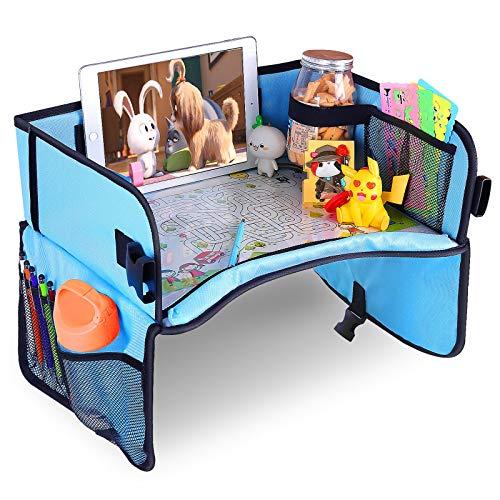 チャイルドトレイ テーブル お絵かきテーブル 子供も喜び運転に集中できる 車載 食事 お遊び台 ベビーテーブル (ブルー)