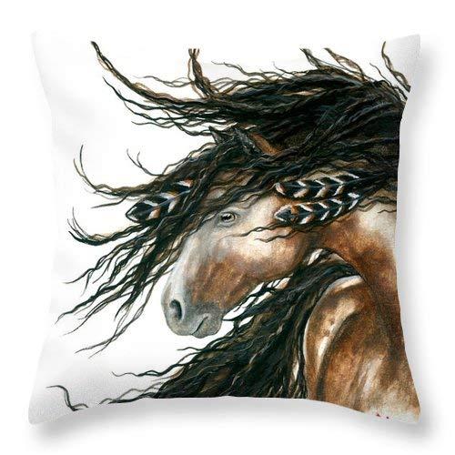 Lplpol Majestic - Funda de cojín cuadrada de lino y algodón, diseño de caballo pinto, 20 x 20