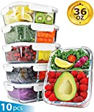 PrepIt Glass Meal Prep Containers 2 Compartment - Glass Food Storage Containers with Lids - Glass...
