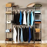 Seville Classics Double-Rod Expandable Clothes Rack Closet Organizer System, 58' to 83' W x 14' D x 72', Chrome