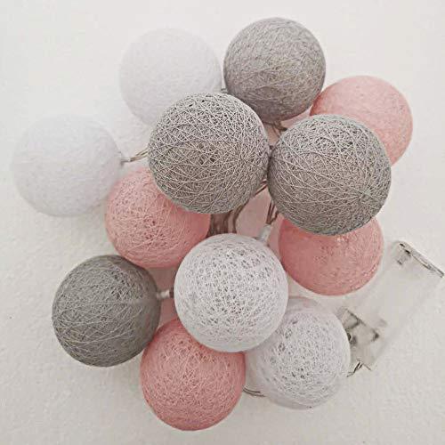 Style home Cotton Ball Lights LED Lichterkette, 12er Baumwollkugeln Batteriebetriebene Dekolampe für Indoor Party Hochzeit usw. (Warmweiß)