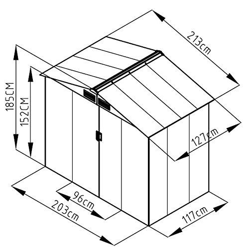 SVITA S100 XL Metall Gerätehaus Verschiedene Größen Geräteschuppen Garten Schuppen Gartenhaus Farbwahl (grau)