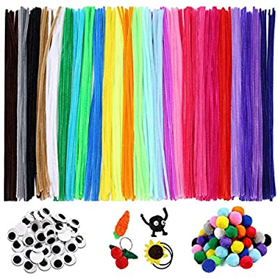 Loietnt 700 PCS Pipe Cleaners Craft, 25 Colors Chenille Stems Pom Poms Assorted Sizes Googly Eyes Self Adhesive for Art Crafts Supplies Kids DIY Creative Decorations Projects