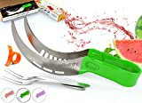 Vellostar Watermelon Slicer Corer Cutter Tongs and Server Set, with ss304 Serving Fork & Orange Peeler, Kitchen-Grade 304 Stainless Steel, Ergonomic Handle, Watermelon Knife, Green
