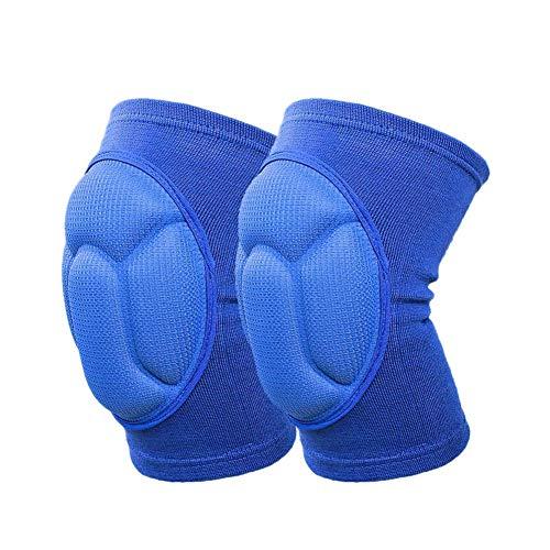 HOUJHUR 2pcs Rodilla Rodillera Engrosamiento Extremo del cojín codera de Apoyo Regazo Protector de la Rodilla de Fútbol Voleibol Deportes de Ciclo B2Csh (Color : Azul)