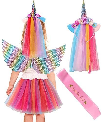 Vamei 4 Stück Einhorn Kostüm Mädchen mit Tüllrock Einhorn Haarreif Regenbogen Flügel Geburtstag Schärpe Halloween Weihnachten Karneval Einhorn Party Kostüm Set für Kinder
