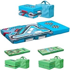 Children s Toddler Folding Playpen Mattress and Playmat with Carry Bag Safari