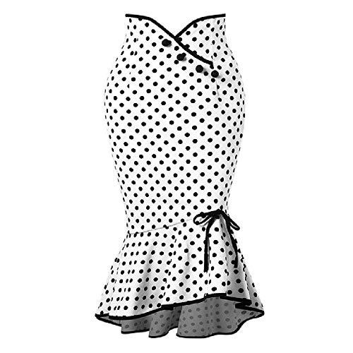 U/A Mujeres Falda Corta De Lunares Blancos Faldas Sexy Chic Verano Asimétrico Bowknot Mujer Vintage Faldas Chica Fondo
