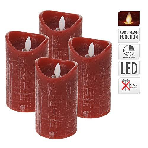 ToCi LED Kerzen Set Rot mit 4 flammenlosen Echtwachs-Kerzen mit beweglicher Flamme und Timer - 4 Kerzen - Ø 7,5 x 12,5 cm