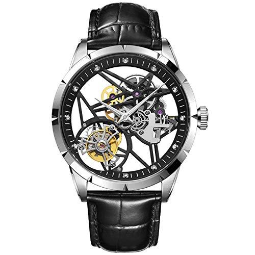 CQOQ Hombres mecánica s Relojes Esqueleto de Lujo de la Marca del Reloj del Deporte de los Hombres de Moda a Prueba de Agua Reloj de los Hombres (Color : B)
