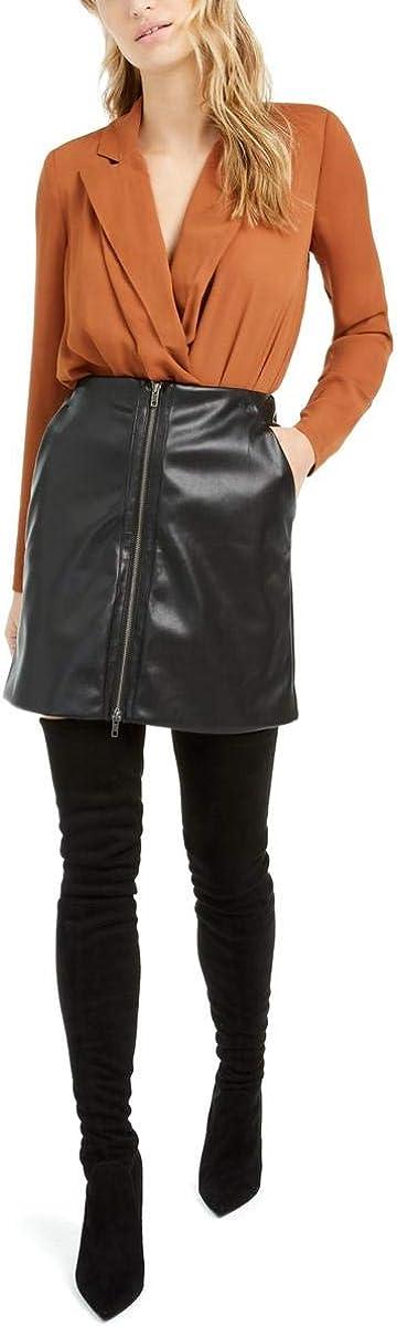 bar III Womens Faux Leather Mini Skirt
