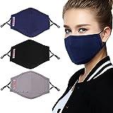 Bageek 3PCS Mundbedeckung Atmungsaktive Staubschutz Gesichtsmundabdeckung mit Filter