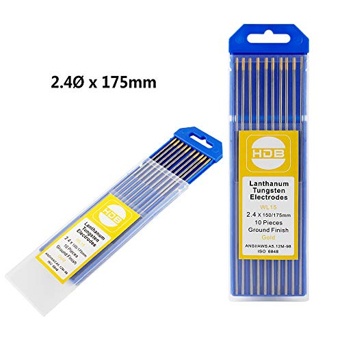 Wilktop 10 x Wolframelektroden WL-15 Wolfram Elektroden 2,4Ø x 175mm Wolframnadeln für WIG Schweißen (Gold)