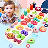 Dušial Wooden Puzzles for Toddlers, Puzzles for 2 Year Olds, Classics Alphabet Number Wooden...