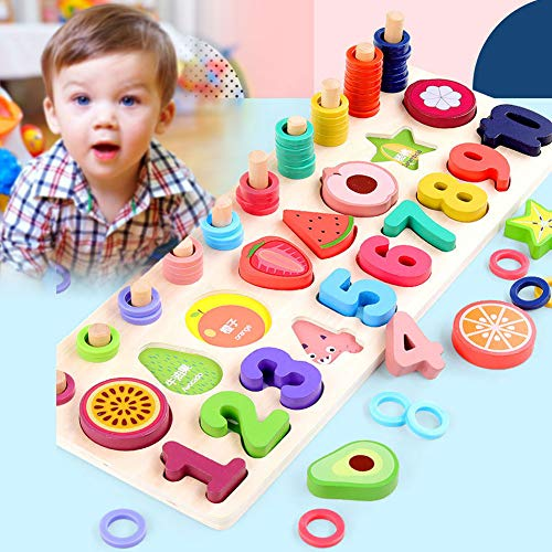 Dastrues Wooden Puzzle for Toddlers Numbers and Fruit Puzzle Educational Toys Kid, Wooden Shape Puzzles, Preschool Boys & Girls Educational Learning Toys, Sturdy Wooden Construction