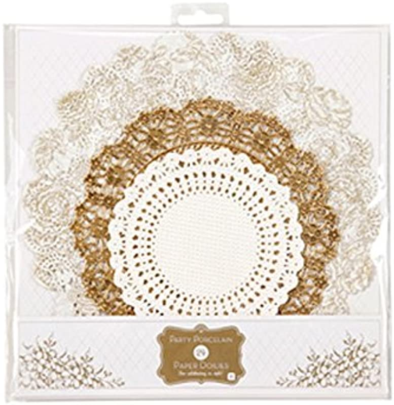 Talking Tables 24 Pack Metallic Party Porcelain Gold Doilies