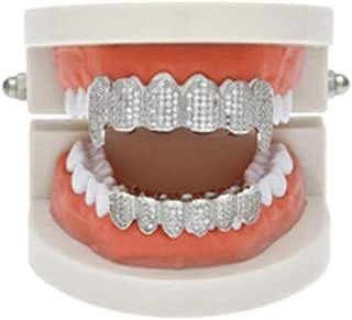 DZT1968 1 Set Gold Plated Drill Teeth Party Grillz Top & Bottom Grill (Silver)