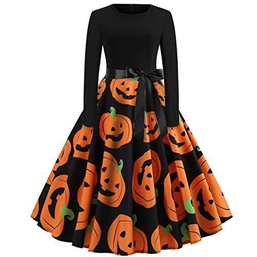 GBYAY Disfraz de Calabaza Impresa de Halloween Vestido de Manga Media Princesa Swing Dress Traje de Mujer para Festival Party M-XXL
