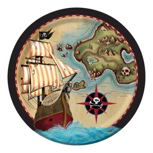 Creative Party Carte Pirates robuste Papier Assiettes (Lot de 8)