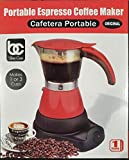 1-3 Cup Electric Espresso Maker Red, BC-95514 Cafetera Electrica Roja de 3 Tasa