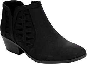 SODA Chance Women's Closed Toe Multi Strap Ankle Bootie