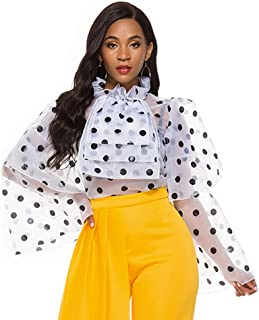 AOMEI Women's Polka Dot Long Flare Sleeve Shirt Tulle Transparent Top