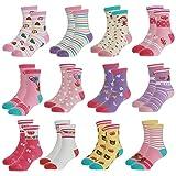 Yafane Calcetines para bebé, 12 pares, antideslizantes, para bebés de 0 a 7 años rosa oscuro 0-12 Meses