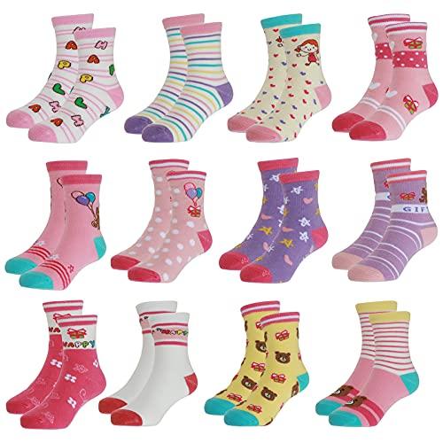 Yafane 12 Pares de Calcetines Antideslizantes para Niños Pequeños Infantil Recién Nacido Calcetines Antideslizantes Algodón para Bebés 0-7 años (Rosa, 1-3 años)