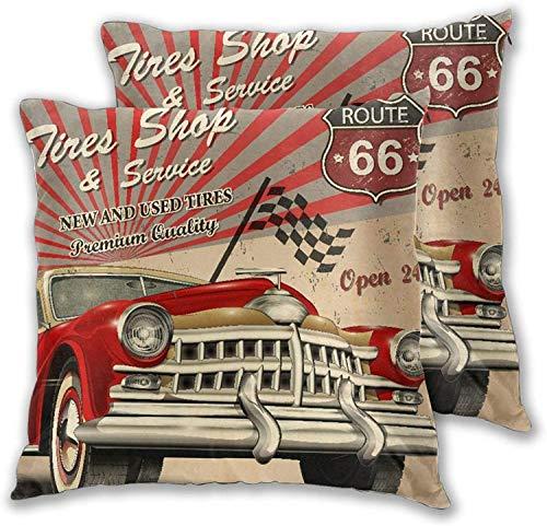 'N/A' Funda de almohada (juego de 2) para servicio de neumáticos, póster retro, color sólido, decorativo cuadrado para sofá, dormitorio, coche, 50,8 x 50,8 cm