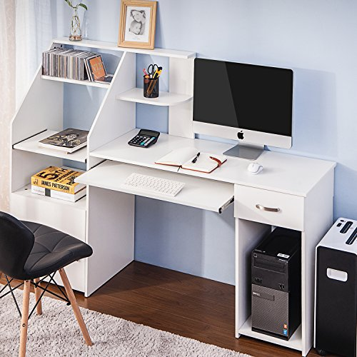 Harper&Bright Designs Computer Desk with Cabinet, Home Office Desk, Computer Workstation, Study Writing Desk with Storage Drawer and Pull-Out Keyboard Tray