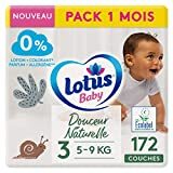 LOTUS BABY Douceur Naturelle - Couches Taille 3 (5-9 kg) Pack 1 mois - 172 couches