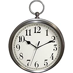 Westclox 47612A Metal Pocket Watch Wall Clock, 15.5-Inch