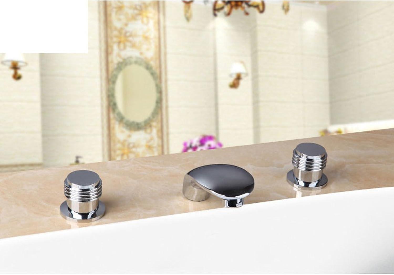 Split heien und kalten Badarmaturen Kupfer Badewanne Wasserhahn drei-Satz Wasserfall breite Wasserhhne-B
