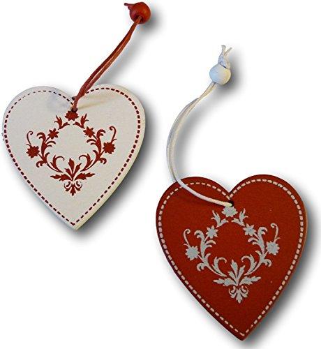 Set di 12 decorazioni per albero di Natale, decorazioni in legno, decorazioni per albero di Natale, sagoma rosso/bianco (motivo: cuore)