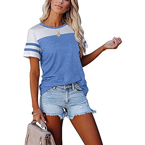 Camiseta de manga corta para mujer, cuello redondo, manga corta, yoga, deportes, atletismo
