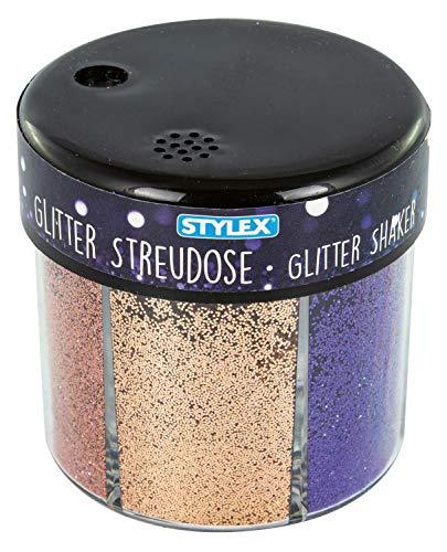 Stylex 23389 - Glitzer Streudeko 60 g, in 6 verschiedenen Farben, feiner Glitzerpuder in einer praktischen Streudose, zum Basteln und Dekorieren von Grußkarten, Bilderrahmen und Scrapbooking
