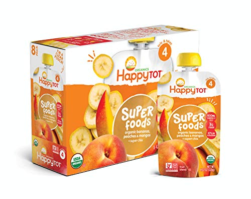 Happy Tot Organic Super Foods Bananas Peaches & Mangos + Super Chia, 4.22 Ounce Pouch (Pack of 16) (Packaging May Vary)