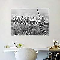 壁アート写真ヴィンテージ白黒写真キャンバス絵画超高層ビルタイムランチレトロポスターリビングルームの装飾20x30cmフレームなし