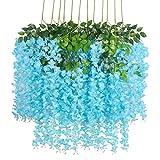 WANGIRL 12 Piezas Flores Artificiales Falsa Wisteria Vine Plantas 110cm Cifrado Flor de Seda Garland Artificial Flores Simulación Flor Decoración para Boda Hogar Home Garden Party (Color : Blue)