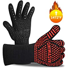 【THE PREMIUM WAY TO PROTECT YOUR HANDS FROM BURNING】Our grilling gloves are made of top level Aramid Fabric and imported yarn, heat resistant, cut resistant and heavy duty synthetic known for its ability to withstand high heat temperature up to 1472°...
