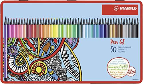 Premium-Filzstift - STABILO Pen 68 - 50er Metalletui - mit 46 verschiedenen Farben