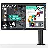 【Amazon.co.jp 限定】LG エルゴノミクス スタンド モニター ディスプレイ 27QN880-B 27インチ/WQHD(2560×1440)/IPS非光沢/HDR/USB Type-C,HDMI×2、DP/FreeSync/スピーカー/チルト,スイベル,高さ調節,ピボット対応/フリッカーセーフ,ブルーライト低減