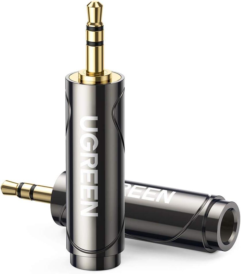 UGREEN Adaptador Jack 3.5mm Macho a 6.35mm Hembra, 2 Pack HiFi Sonido Convertidor de Audio Estéreo, Conector de Jack Plug y Play para Guitarra, Mixer, Amplificador, Altavoz, PC, TV, Móvil, Tablet, MP3