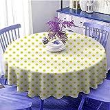 Mantel redondo amarillo de cocina Picnic Like Cute 50s 60s 70s Retro Themed amarillo manchado blanco patrón impresión para fiestas diámetro 50 pulgadas amarillo y blanco