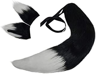 Wolf Fox Tail and Clip Ears Kit for Children or Adult Halloween, Christmas, Fancy Party Costume Accessories Xmas Toys Gift