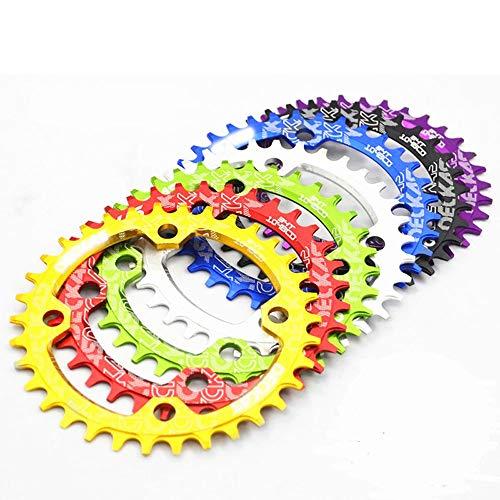MZZG MTB Bike CRANKSET CAILING, CLIPO DE CLAINSET 104BCD Cadenas 32-38T, manivela de aleación de Aluminio Cadena Ovalada Redonda,Plata,38T*Oval