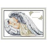Certificado de Nacimiento de Little Angel, bebé Dormido, Lienzo Estampado 14CT 11CT DIY Kits de Bordado de Punto de Cruz Conjuntos de Costura