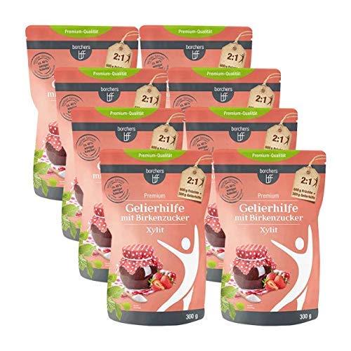 8 x borchers Gelierhilfe mit Birkenzucker Xylit, für Fruchtaufstriche, Alternative zu Gelierzucker, Aus Finnland 300 g