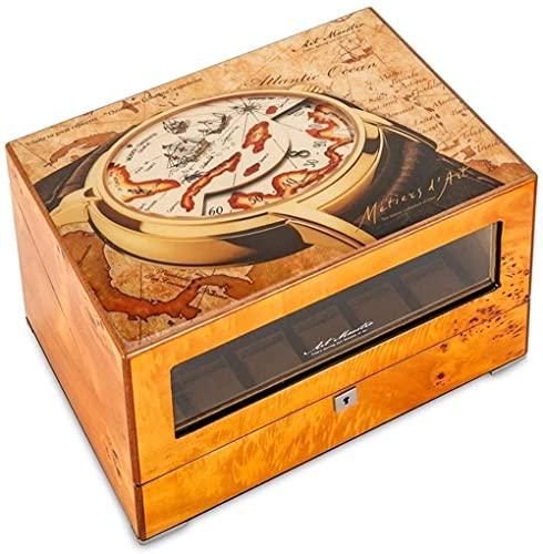 Uhr Wickler für 4 Uhren Silent 4 + 6 Holz Batteriebetriebene Uhren Wickler Display Box Aufbewahrungskoffer Braun Excellent